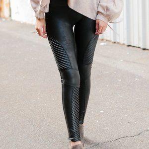 Spanx Faux Leather Black Moto Leggings